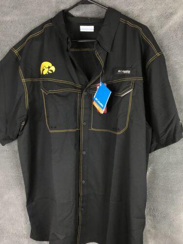 Columbia PFG UNIVERSITY OF IOWA RARE vented Black Fishing Shirt Omni-shade XL