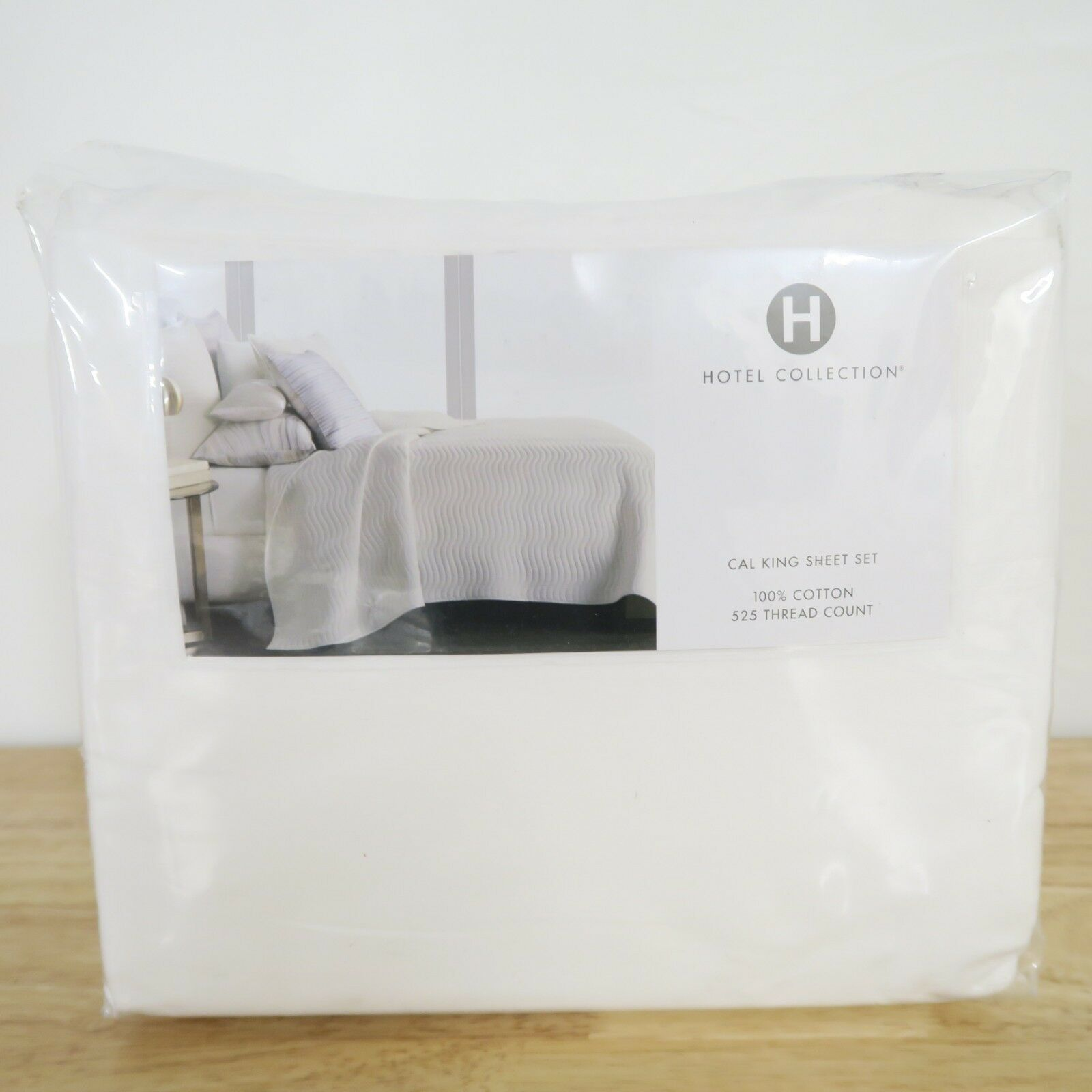 Hotel Collection 525 TC Yarn Dyed CAL KING Fitted Sheet & Flat Set Weiß E91008