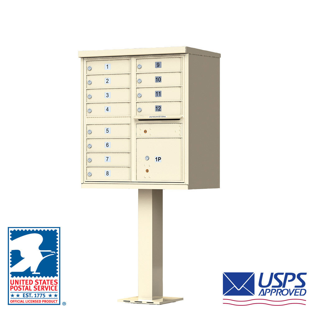 12 Door Florence CBU Cluster Box Unit Mailbox with Pedestal - USPS Approved