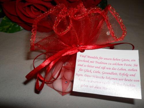 10x Gastgeschenke Organzasäckchen Mandeln Hochzeit Taufe Kommunion rot