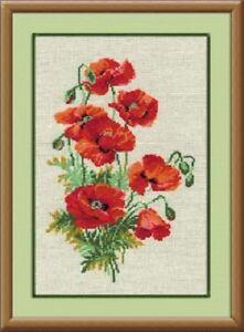Golden Fleece Cross Stitch Kit Watercolour Poppies