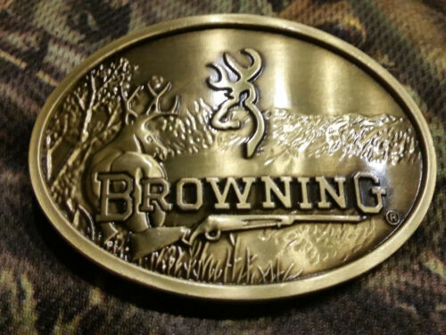 Browning Belt Buckle midsize bronze color Deer Rifle Country hunting fishing
