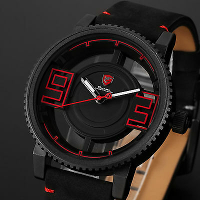 Shark Men's Sport Leather Hollowed-Out Dial Gearwheel Bezel Quartz Wrist Watch