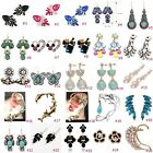 1 Pair Elegant Women Fashion Rhinestone Pearl Ear Stud Earrings Crystal Chain