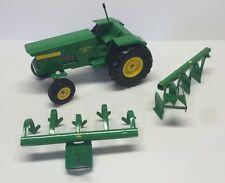 Fiona's Metal Toys Pressed Steel John Deere Tractor wiht Cultivators & Plow Rare