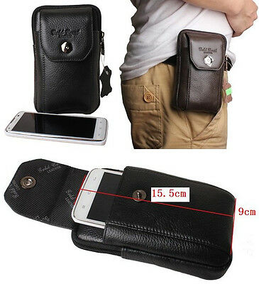 Men Waist fanny Bag Belt Pack Mobile Cow Leather Clutch Pouch Wallet 3839-Y