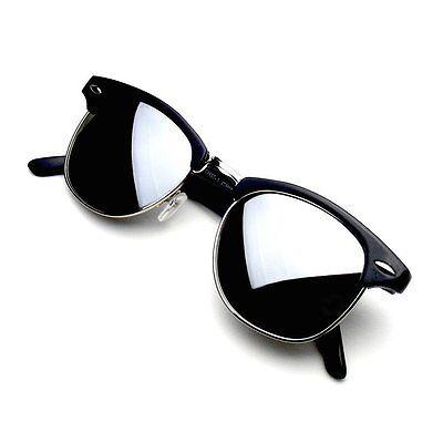 Retro Fashion Half Frame Flash Mirror Lens Clubmaster Wayfarer Sunglasses