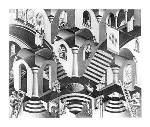 C Escher Fantasy Weird Odd B/&W Art Print Poster 17.75x31.25 House of Stairs M