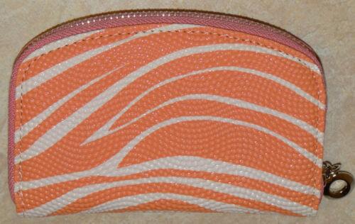 Womens Zippered Wallet Coin Purse-Orange w//White Stripe