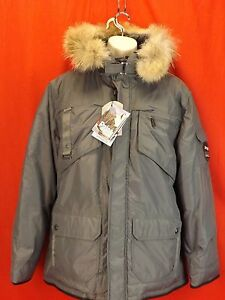 NWT-PAJAR-CANADA-GRAY-NYLON-COYOTE-FUR-HOODIE-WINTER-JAMES-GOOSE-DOWN-PARKA-L