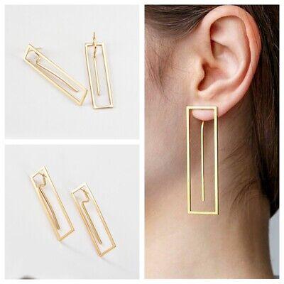 Fashion Women Crystal Geometry Rectangle Alloy Dangle Ear Stud Drop Earrings