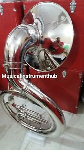 SOUSAPHONE-25-034-BELL-SIZE-IN-CHROME-POLISH-OF-PURE-BRASS-METAL-FREE-CASE-FREE-SHIP