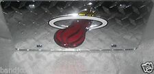 Miami Heat  LASER CUT Diamond Car License Plate SILVER Dad are we Fans Now??