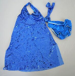 Curtain Call Blue Sequin Dance Costume Dress Outfit Child Girls Size Large L CLA