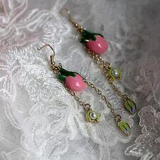 Boucles d`Oreilles Goutte Bourgeon Fleur Rose Perle Feuille Vert Cadeau L2