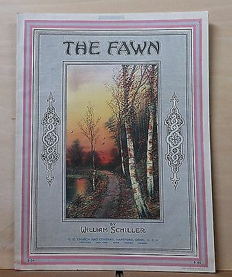 The Fawn - 1918 sheet music - woodland path illustration on cover, instrumental