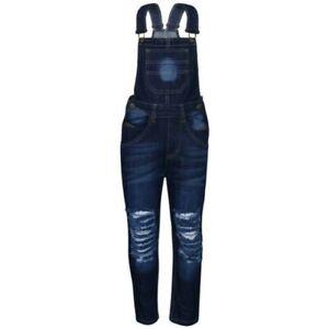 Kinder Mädchen Denim Latzhose Zerrissen Dunkelblau Jeans Overall Mode 5-1