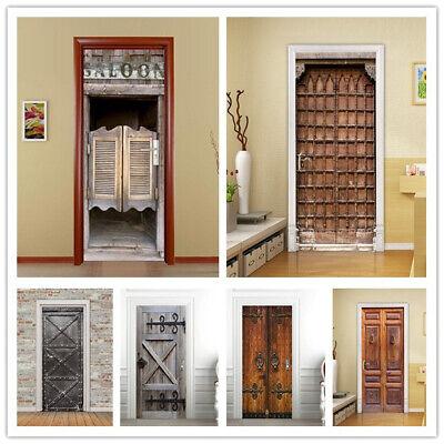 1PC 3D Door Wall Sticker Wrap Mural Scene Self Adhesive Home Decor Decal