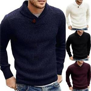 Men-039-s-Plain-Long-Sleeve-Knitted-Pullover-Sweater-Slim-Fit-Jumpers-Winter-Tops