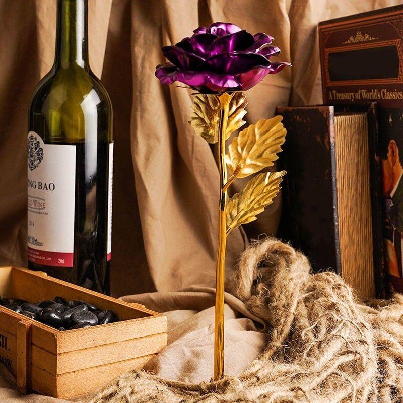 2PS Goldfolie Goldene Rose 24K Blume vergoldet Valentinstag Geburtstag Geschenk 5