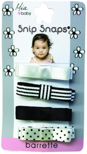 Hair Clips Black Hair Accessories Mia Baby Satin Barrettes White 4pcs