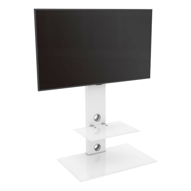 """Satin White TV Stand Cantilever with TV Mount Bracket 32 - 60"""" LED LCD Curved LD"""