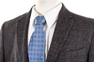 0909-Fatto-in-Italie-Sport-Coat-42-R-in-Black-Tan-Tweed-Wool-Silk-Linen-ITALY