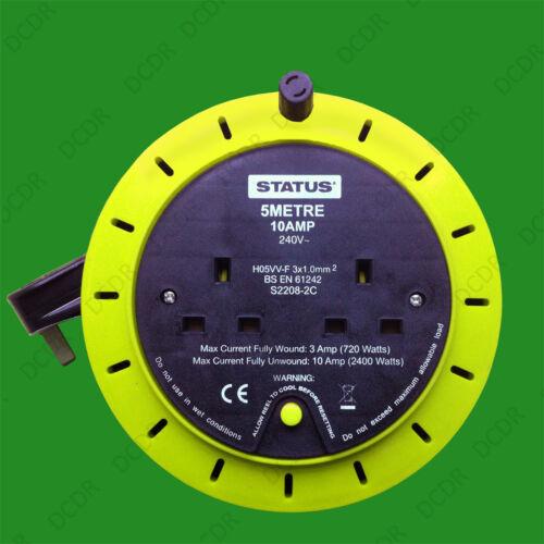 Heavy Duty 2 Gang extension 5 m plomb Bobine 10 A UK Plug Socket 240 V Vert Citron