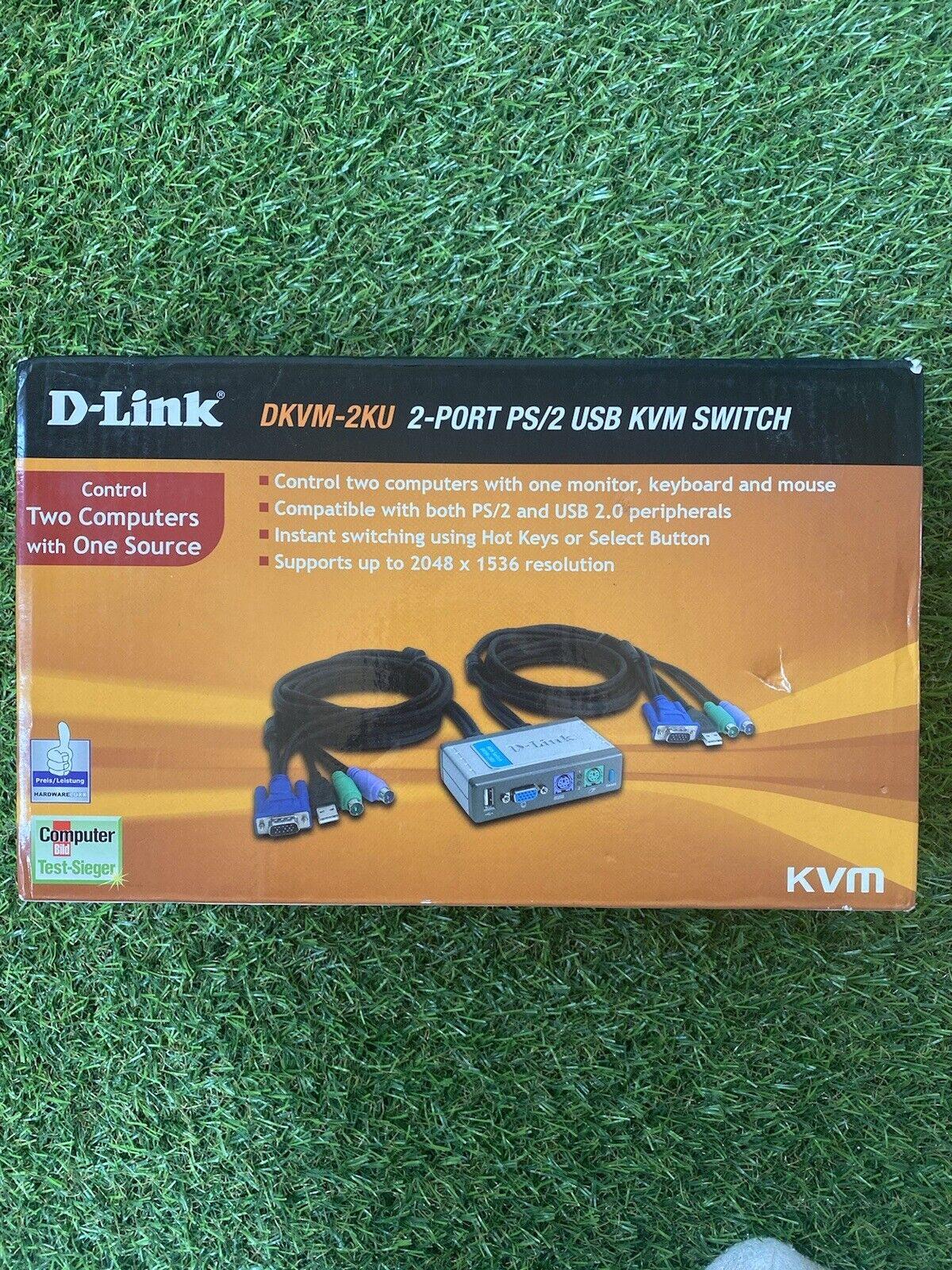 D-link Dkvm-2ku 2port ps/2 USBKVM Switch Sealed