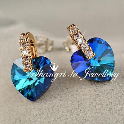 925 Sterling SILVER 18K GOLD GF OCEAN BLUE Heart EARRINGS SWAROVSKI CRSYTAL LD02