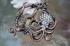 Octopus Toggle Clasp, (T02C) Original Design: copper plated with rhinestones