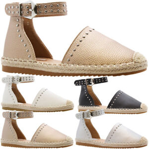 a380be1d65a New Ladies Womens Flats Studded Ankle Strap Espadrilles Sandals ...