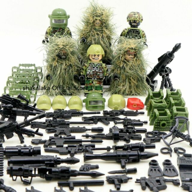 6 in 1 Military Display Box Case World War 2 Army SWAT Soldier Weapon Fit Lego