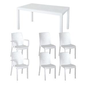 Tavolo da giardino 150x90 arredamento esterno bianco con 4 for Sedie tavolo esterno