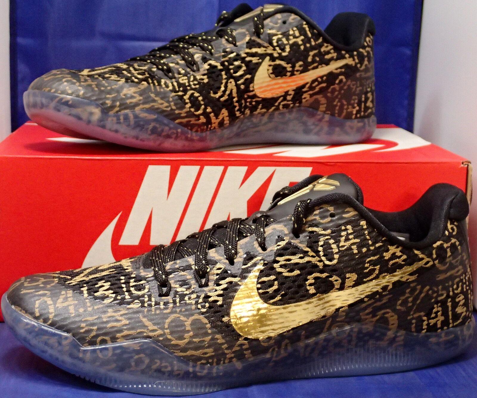 Nike Kobe XI 11 Mamba Day QS iD Black Gold SZ 8.5 ( 865773-993 )