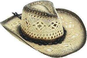Ladies Womans Cap Medium Brim Crochet Cowboy Straw Hat with Strap