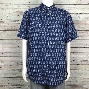 Daniel Cremieux Signature Button Up Camp Shirt XL Men's Blue White Paisley Print