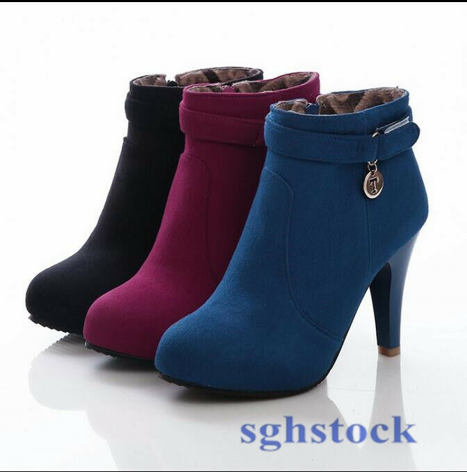 New Womens Faux Suede Autumn High Heel Pumps Zipped Ankle Boots Plus Size Size