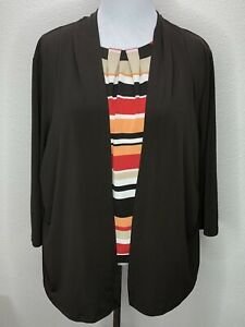 Women's Alfred Dunner XL Stretchy 3/4 Sleeve Layered Look Knit Top Brown Coral