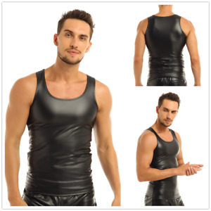 Mens-Faux-Leather-Sleeveless-Top-Vest-Sports-Muscle-Tank-Shirt-Undershirt-Club