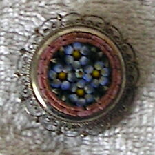 Micro Mosaic PIN BROOCH antique silver tone filigree setting Floral design Italy