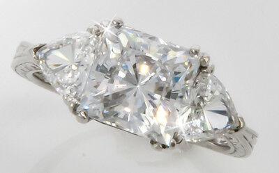 2.5 ct Princess Filligree Handmade Ring Top CZ  Moissanite Simulant SS Size 6