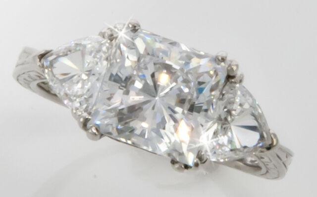 2.5 ct Princess Filligree Handmade Ring Top CZ  Moissanite Stimulant SS Size 6.5