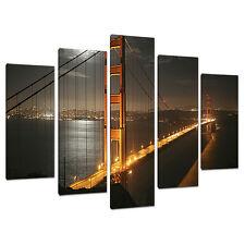 Cinque TELA FOTO SAN FRANCISCO Wall Art GOLDEN GATE ponti 5038