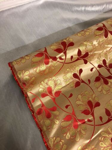 """1 METER RED//GOLD SHINY METALLIC FLORAL BROCADE 45"""" WIDE NEW IN STOCK FREE P/&P"""