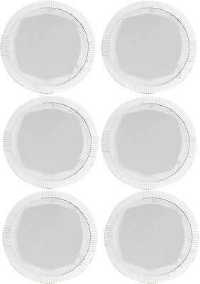 """6 x CEILING WALL SPEAKERS QUICK EASY FIT 35W 8ohm 5"""" 13cm ROUND WHITE 100.031"""