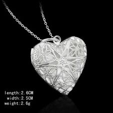 "925 Sterling Silver plated Heart Photo Locket Pendant Necklace 20"" link chain"
