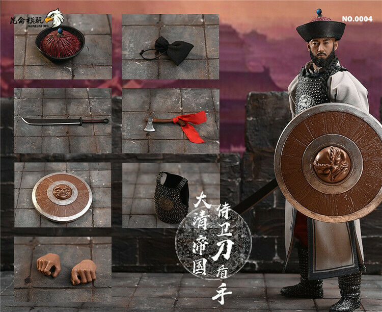 1 6 NO.0004 Qing Dynasty Empire Guardian Knife Shield Hand Moveable Figure Toys