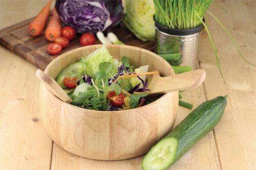 Serving Salad Rubberwood Salad Bowl with Servers Set Bread and Fruit