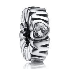 Love Rhinestones Spacer Beads 925 Silver European Jewelry Fit Diy Charm Bracelet